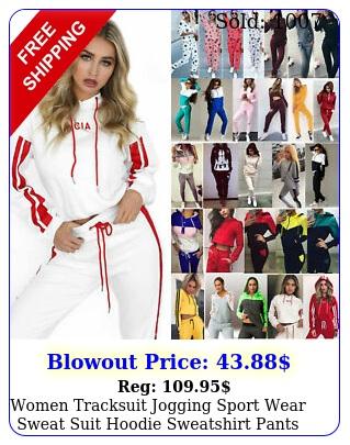women tracksuit jogging sport wear sweat suit hoodie sweatshirt pants set casua