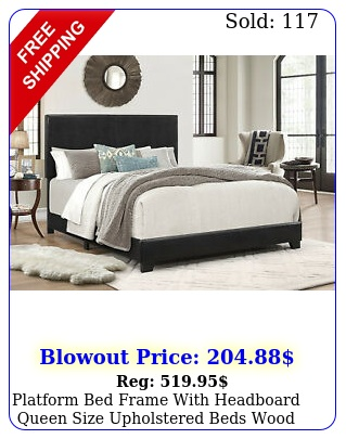 platform bed frame with headboard queen size upholstered beds wood frames blac