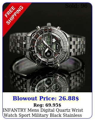infantry mens digital quartz wrist watch sport military black stainless stee
