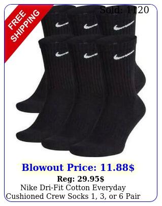 nike drifit cotton everyday cushioned crew socks  or pair blac
