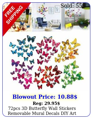 pcs d butterfly wall stickers removable mural decals diy art home decoratio