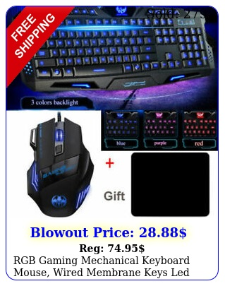 rgb gaming mechanical keyboard  mouse wired membrane keys led backlit colo