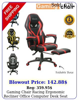gaming chair racing ergonomic recliner office computer desk seat swivel footres