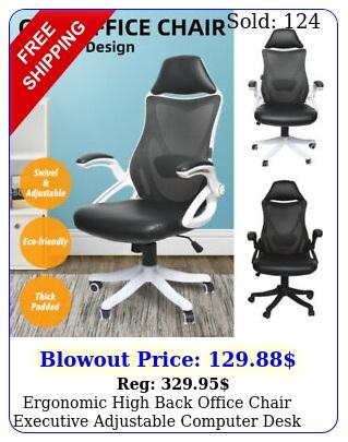ergonomic high back office chair executive adjustable computer desk pu mesh w