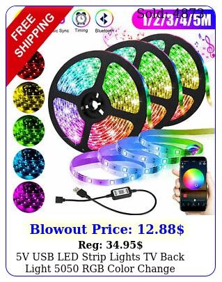 v usb led strip lights tv back light rgb color change bluetooth app remot