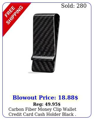 carbon fiber money clip wallet credit card cash holder blac