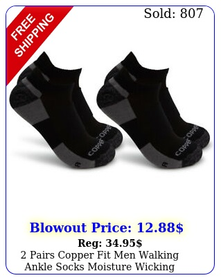 pairs copper fit men walking ankle socks moisture wicking cushion compressio