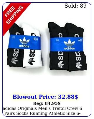adidas originals men's trefoil crew pairs socks running athletic siz
