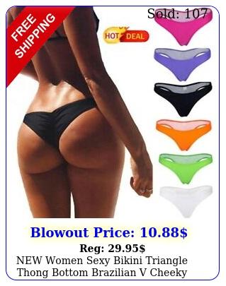 women sexy bikini triangle thong bottom brazilian v cheeky ruched swimwea