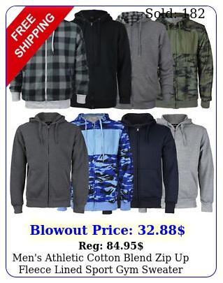 men's athletic cotton blend zip up fleece lined sport gym sweater hoodi