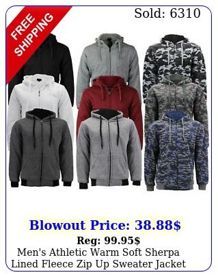men's athletic warm soft sherpa lined fleece zip up sweater jacket hoodi