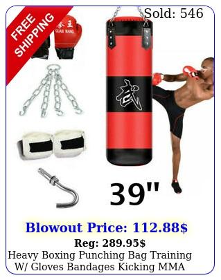 heavy boxing punching bag training w gloves bandages kicking mma workout empt