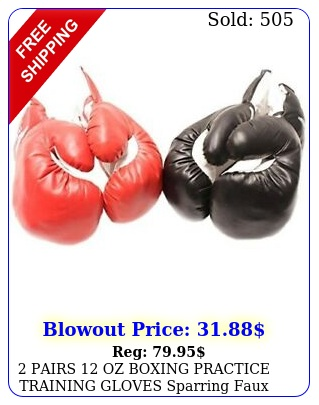 pairs oz boxing practice training gloves sparring faux leather red blac