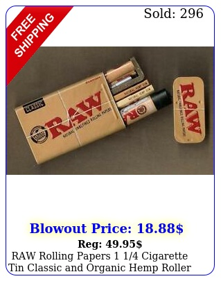 raw rolling papers  cigarette tin classic organic hemp  roller lighte
