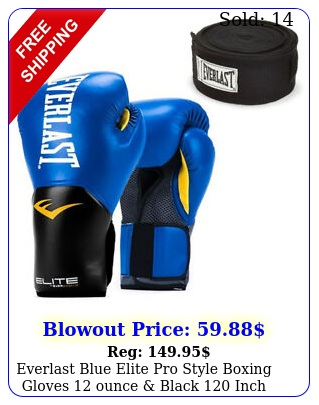 everlast blue elite pro style boxing gloves ounce black inch hand wrap