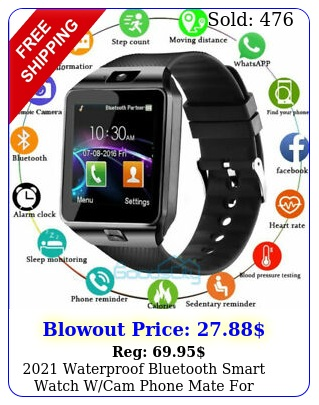 waterproof bluetooth smart watch wcam phone mate iphone ios android l