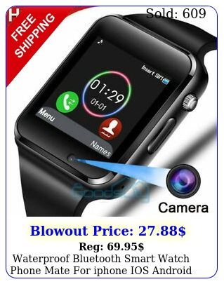 waterproof bluetooth smart watch phone mate iphone ios android blac