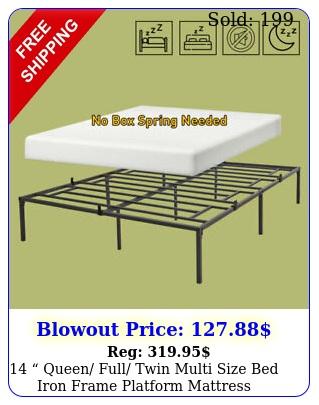 queen full twin multi size bed iron frame platform mattress foundatio