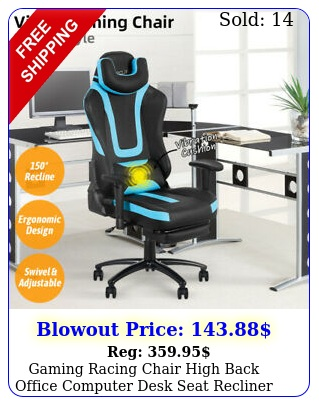 gaming racing chair high back office computer desk seat recliner footrest swive