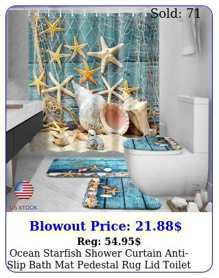 ocean starfish shower curtain antislip bath mat pedestal rug lid toilet cove