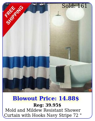 mold mildew resistant shower curtain with hooks navy stripe