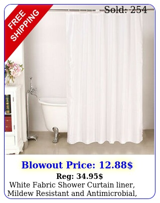 white fabric shower curtain liner mildew resistant antimicrobial