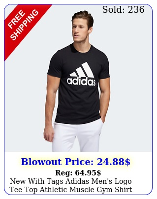 with tags adidas men's logo tee top athletic muscle gym shir
