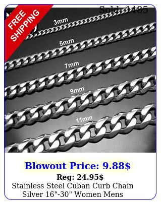 stainless steel cuban curb chain silver women mens necklace m