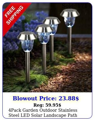 pack garden outdoor stainless steel led solar landscape path light waterproo