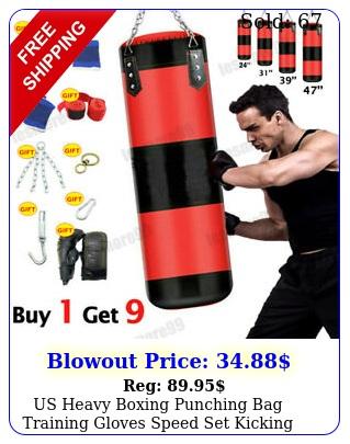 us heavy boxing punching bag training gloves speed set kicking mma workout empt