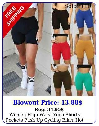 women high waist yoga shorts pockets push up cycling biker hot pants workout c