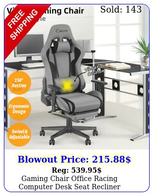 gaming chair office racing computer desk seat recliner footrest swivel vibratio