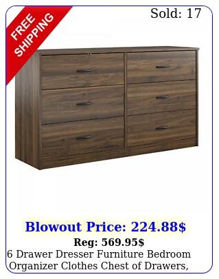 drawer dresser furniture bedroom organizer clothes chest of drawers walnu