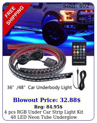 pcs rgb under car strip light kit led neon tube underglow underbody syste