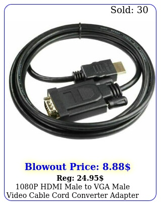p hdmi male to vga male video cable cord converter adapter pc monitor h