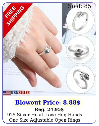 silver heart love hug hands one size adjustable open rings jewellery gif