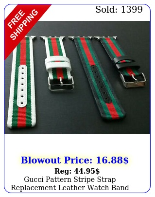 gucci pattern stripe strap replacement leather watch band sport apple watc