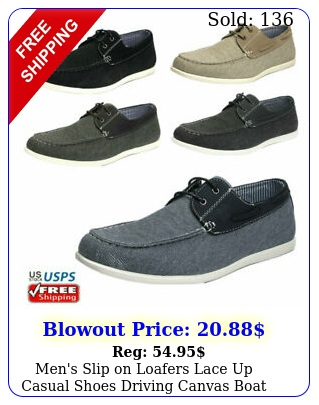 men's slip on loafers lace up casual shoes driving canvas boat shoe