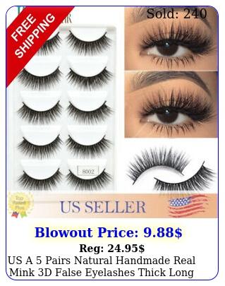 us a   pairs natural handmade real mink d false eyelashes thick long lashe