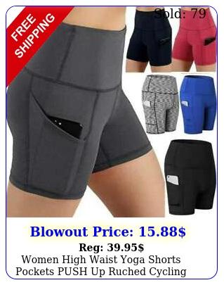 women high waist yoga shorts pockets push up ruched cycling biker hot pants gy