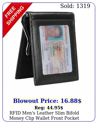 rfid men's leather slim bifold money clip wallet front pocket credit card holde