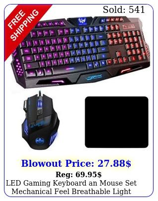 led gaming keyboard an mouse set mechanical feel breathable light backlit p
