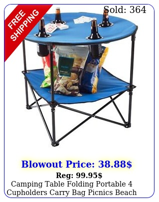 camping table folding portable cupholders carry bag picnics beach event