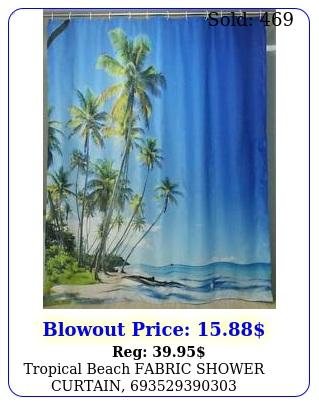tropical beach  fabric shower curtai