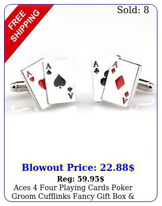aces four playing cards poker groom cufflinks fancy gift polishing clot