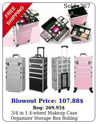 in wheel makeup case organizer storage rolling cosmetic bag trolle