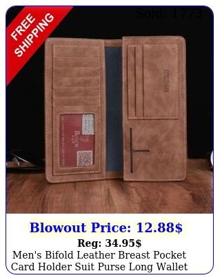 men's bifold leather breast pocket card holder suit purse long wallet checkboo