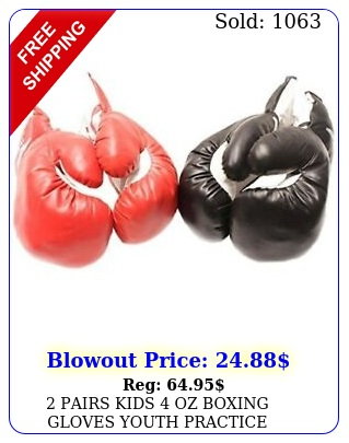 pairs kids oz boxing gloves youth practice training faux leather red blac
