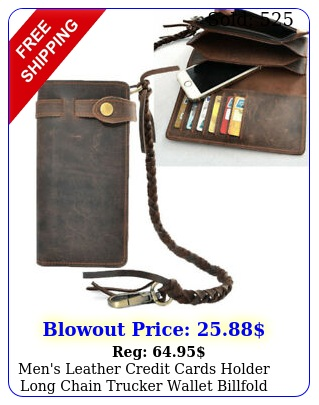 men's leather credit cards holder long chain trucker wallet billfold vintag
