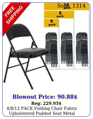pack folding chair fabric upholstered padded seat metal frame home offic